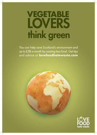 Love Food Hate Waste Vegetable Lovers Scotland A3 Poster Zws