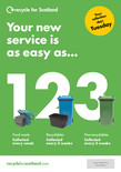 Recycle for Scotland local authority reduced frequency campaign, easy as 1 2 3, A5 leaflet template
