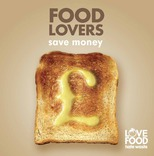 Love Food Hate Waste Beer Mat: 'Food lovers save money', toast motif