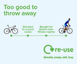 Re-use brand web banner (336 x 280) DONATE/BIKE
