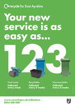 Recycle for Scotland local authority reduced frequency campaign, easy as 1 2 3, poster template