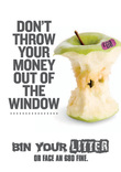 Litter&Flytipping Transport BinYourLitter Apple A4 Poster