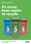 Recycle for Scotland local authority reduced frequency campaign, its never been easier, poster template