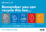 Recycle for Scotland local authority, what can I put in my recycling bin sticker -icon template