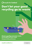 Recycle for Scotland local authority A3 plastic tray contamination poster