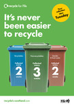 Recycle for Scotland local authority reduced frequency  campaign, easy as its never been easier to recycle, A5 leaflet template